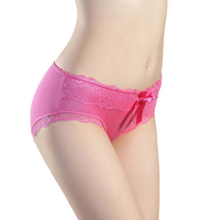 Fashion top quality lace bowknot transparent ladies underwear sexy mature women panties