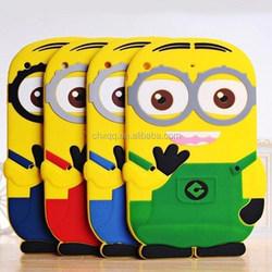 cute Cartoon Despicable Me Minions cover silicone case For Ipad Ari 2/Ipad 6