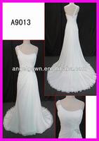 Wholesale price Guangzhou A line beading chiffon wedding dress A9013