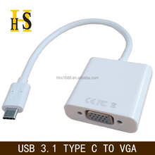 usb3.1 type c to vga connector cable for macbook air to projector up to 1080P factory wholesale usb 3.1 type c to vga adapter