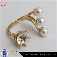 High quality gold plated crystal ring freshwater pearl ring designs for women