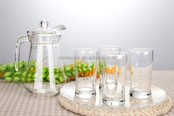 Hot selling cheap glass pitch with handle / glass water bottle