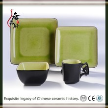 16PCS high quality fine china modern square dinner set cheap ceramic christmas porcelain dinner set