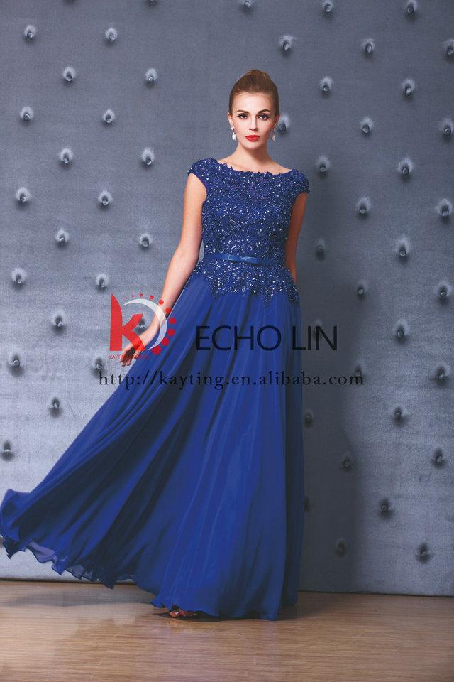 Elegant Chiffon Royal Blue Evening Dress 2015 Latest Design Formal ...