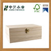 Plain unfinished paulownia hinged wooden treasure box wooden storage box with latch