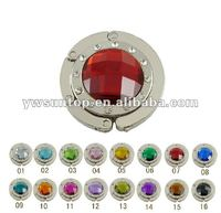 decorative round foldable metal purse hook inlaid with diamond