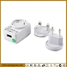 USB POWER ADAPTER 5v 1A - Switchable UK 3 Pin / EU 2pin Mains to USB FEMALE plug / travel adapter- for iPhones, MP3 player