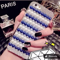 Hot case 2015 colorful pearls bling bling hard back case for iphone 5s, crystal case cover for iphone 5