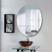 "Home decorative cheap wholesale oval lovely 1"" bevel frameless glass mirror"