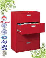 lateral 4-drawer filing cabinet with plastic recessed handle, ball-bearing suspension slide, link-rod lock
