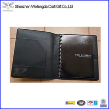 Black Letter Size Classical Spiral Leather Portfolio Notebook
