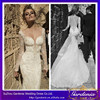 New Arrival Turkish Ivory Color Sexy Open Back Appliques Beaded Mermaid Train Sheer Long Sleeve Lace Wedding Dresses 2015