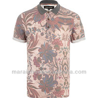Stylish new arrival OEM rolled sleeves all-over print floral POLO shirt,designer clothing manufacturers in China