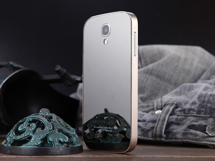 Arylic Cover+Metal Bumper Funky Mobile Phone Case For Samsung Galaxy S4