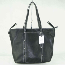 Very simple brief design full color black printing PU leather woman tote bag factory direct price