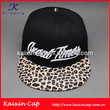 leopard panther leather brim snapback hat cap with custom (High quality)