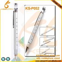 Aluminum tool pen 8 in 1 with bottle opener+ruler+stand+ball pen+screw driver+car brand logo