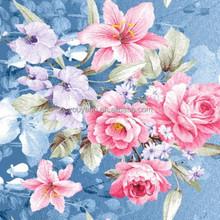 100% poliéster diseño grande de la flor disperso tela impresa para ropa de cama y textiles para el hogar