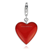 Red Heart Enamel Charm Pendant for Bracelet&Necklace with Lobster Clasp
