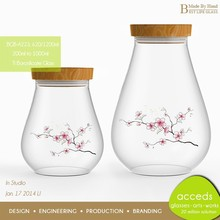 Heat-Resistant Handcrafted Borosilicate Glass Christmas Canister Set