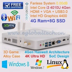 Mini PC 4GB RAM 8GB SSD Fanless Mini Itx Case with Intel NUC i3 CPU for 4K Blu-ray Video HTPC Kodi desktop Computer Ubuntu PC