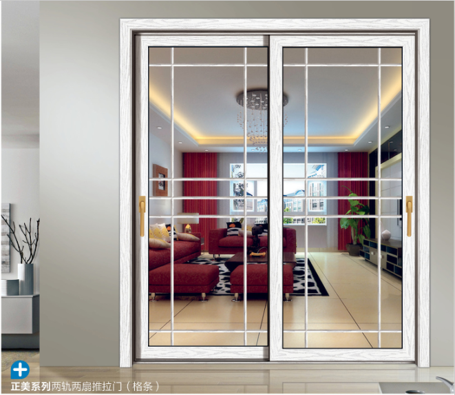 Soundproof White Aluminum Interior Sliding Double Glass Doors With