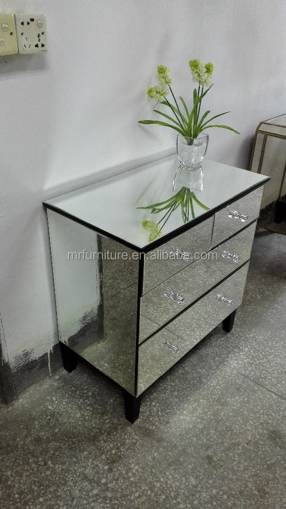 Wide Mirrored Bedroom Side Table With 4 Drawers Chest