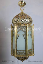 Moroccan Style Handmade Brass Lantern with White Colored Glass - Chandelier Lighting - CH 101
