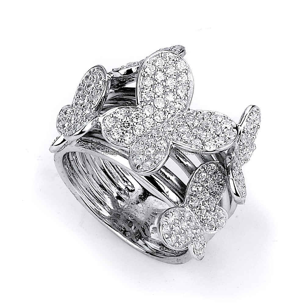 .925 Sterling Silver Butterfly CZ Ring