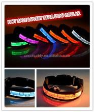 LED Flashing Nylon Dog Collar Opitic Fiber Bear Pattern Mickey Mouse Donald Duck Led Collar For Pet Dog