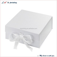 custom plain cardboard gift boxes, papaer gift box, white magnetic gift box with ribbon bow wholesale manufactures