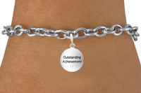 Handmade Metal Alloy Letter Outstanding Achievement Disc Charms Link Bracelet Jewelry