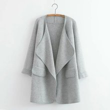 Rebeca de la capa de manga larga punto llanura Slim Fit suéteres
