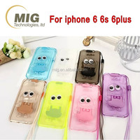 Cell phone flash mobile phone case for iphone 6s with stand with lanyard, for iphone 6s plus clear crystal cell phone case