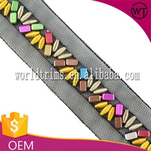 Colorful beads mesh trimming for fashion dress WTA158
