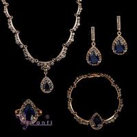 guangzhou wholesale dubai blue gemstone antique gold jewelry set buyers