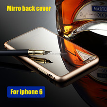 Luxury dual color Aluminum Bumper Case For iPhone6, For iPhone 6 Mirror Back Cover Hybrid Case gold plated