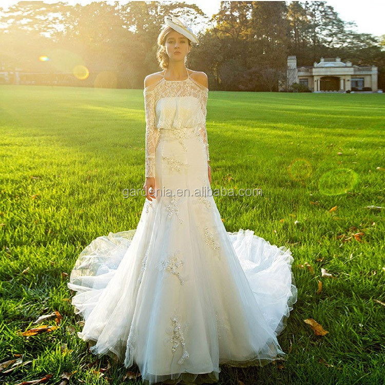 wholesale supplier glamorous wedding dress with elegant long sleeves