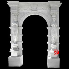 natural stone main door frame with elegant woman statue