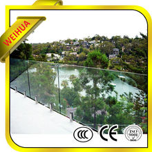 3-19mm clear aluminium profile glass fence with certificate for sale