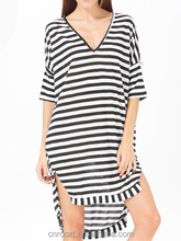 Casual Plus Size High Street 2015 Summer Autumn Women Asymmetrical Knee Length Black White Striped V Neck Loose Dress