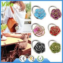 1PCS Crystal Flower Elegant Folding Handbag Purse Bag Table Hook Hanger Holder