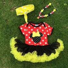 NEW ARRIVAL newborn girl clothes Micky Mouse tutu dress romper red kids romper with matching necklace and headband