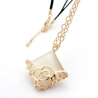 Vintage sliver chain necklace, square opal pendant necklace fashion accessories for women sweater chain