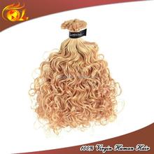100% virgin remy weave natural blonde kinky curly brazilian virgin human hair extensions