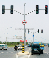 Factory Supply Tri-arm LED Traffic Light Pole and CCTV Camera Poles
