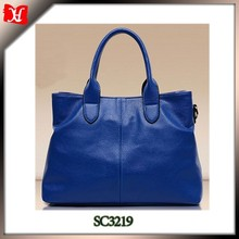 Blue color Special Offer PU Leather Bags Pure color Leather Handbags