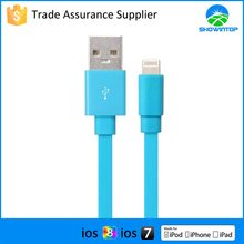 Multy color high quality for Apple MFI certified 3.3ft 1m flat noodle usb cable for iphone fitting all ios devices