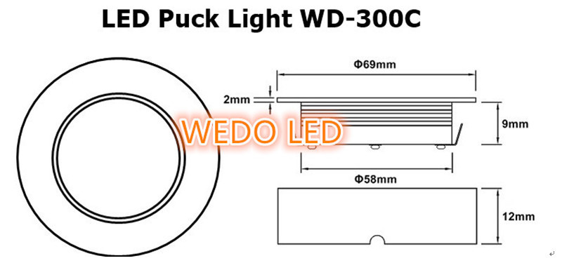 WD-300C Receesed/Surface Mounted Dimmable 12V 24V SMD LED Puck Light With UL cUL