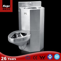 Stainless Steel Prison Water Ridge One Piece Dual Flush Tankless Toilet